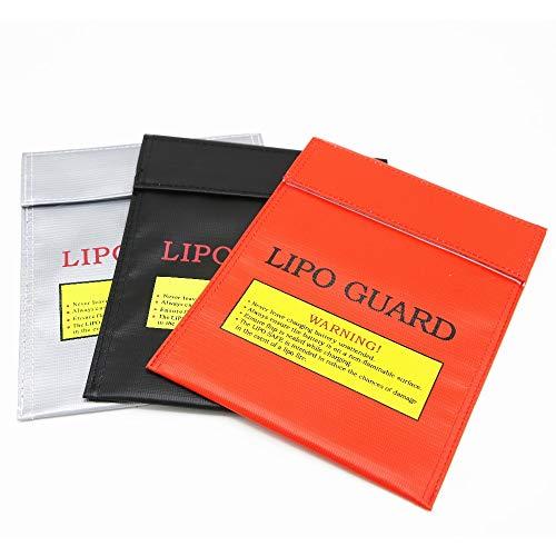 SHUGJAN Bolsa 1pcs incombustible RC LiPo de seguridad de la batería de carga Safe Guard Sack 180 X230mm Piezas de montaje RC (Color : Black)