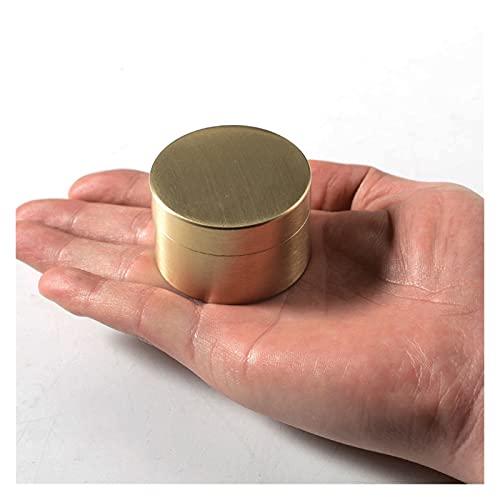 Caja De Joyería Cepillada De Latón Mini Redondo Joyería Organizador Caja Portátil Viajes Joyería Trinket Cajas De Té De (Color : M Jewelry Box)