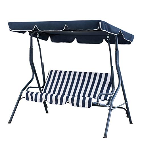 AmazonBasics Outdoor 2-Seat Striped Patio Swing with Canopy, Dark Blue and White