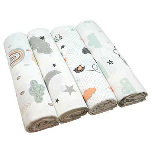 Pañales de gasa con nubes de 120 x 120 cm, 4 unidades, unisex, absorbentes, paños para vómitos, pañales de tela para bebé, con certificado Öko-Tex (4 nubes, 120 x 120 cm)