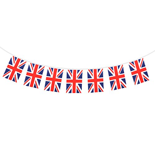 Tinksky Uni Drapeau britannique Bannières Chaîne, 32 drapeaux de pays nationaux Union Jack drapeau fanions Bannière Banderoles Guirlandes pour Supermarché Party Bar Sports Club Décoration