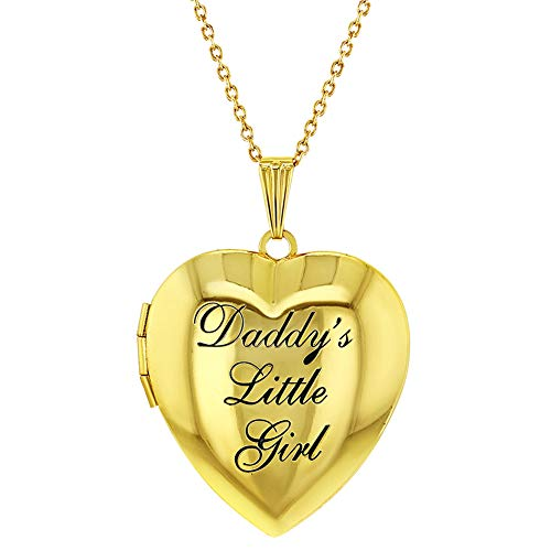 In Season Jewelry Children's Heart Photo Locket Pendant Necklace Daddy's Little Girl 19'