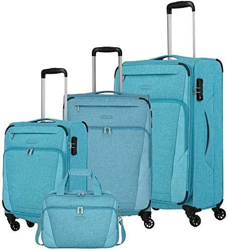 travelite 4-Rad Weichgepäck Koffer Set Größen L/M/S, Handgepäck erfüllt IATA Bordgepäck Maß, Gepäck Serie JAKKU: Leichter Trolley im klassischen Design, 092540-23, türkis