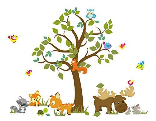 madras24 Wandtattoo Kinder Babyzimmer Aufkleber Eule Eulen Wandsticker Wand Waldtiere Kinderzimmer Wandaufkleber Dekoration fürs Baby Kindergarten Baum Tiere MK 66 XL