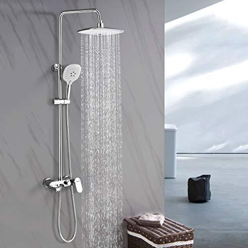 Duschsystem mit Armatur und Ablage, WOOHSE Duscharmatur set Badewanne, Regendusche Duschkopf mit Wandhalterung, Höhenverstellbar Duschstange, Handbrause mit 3 Strahlarten für Badzimmer