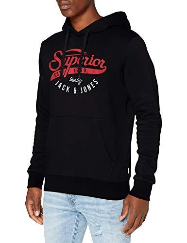JACK & JONES Herren Jjelogo Hood 2 Col 20/21 Noos Pullover Sweater, Schwarz, S EU