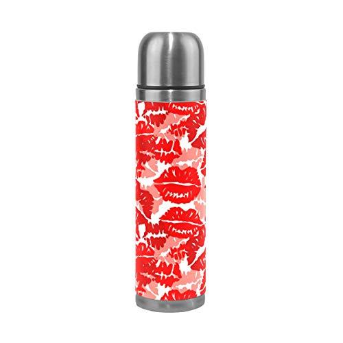 Ahomy Bouteille Isotherme à Double paroi en Acier Inoxydable Motif Rouge à lèvres Rouge 0,5 l