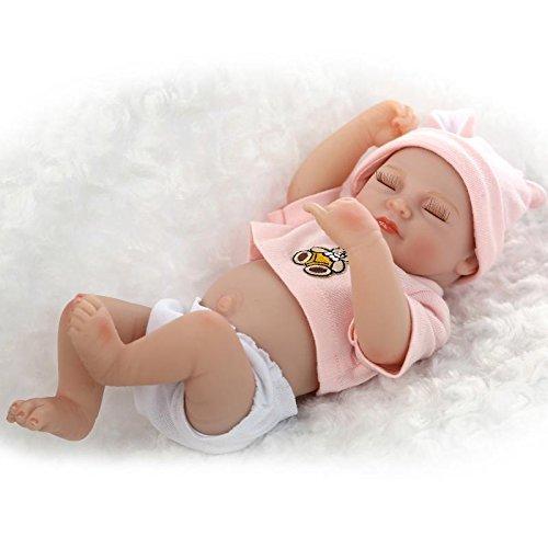 Nicery 10 Pulgadas Renacido de la Reborn muñeca del silicón Duro Vinilo 26cm a Prueba de Agua de Juguete de Color Rosa Oso de la Muchacha Ojos se cierran Reborn Baby Reborn Doll