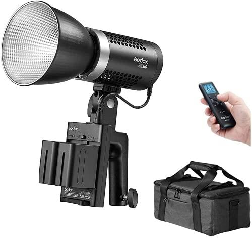 【Godox正規代理店】Godox ML60 手持ち式LEDビデオライト 60W 5600K 昼光バランス 撮影補助光 CRI96 TLCI97 16グループ32チャネル99ID 8つのプリセットFX照明効果 静音ファンモード デュアルパワーソリューション