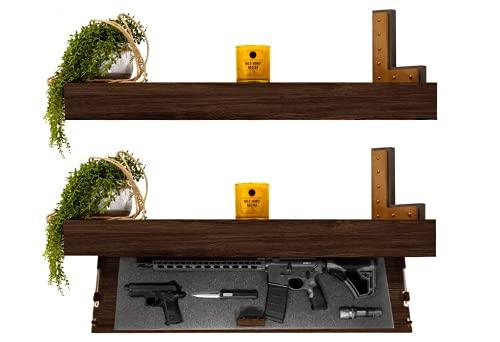 Tactical Traps Defender 45R Gun Shelf with Trap Door   Long-Barrel Gun, Rifle, Shotgun Storage with RFID Lock   Secure & Safe Hidden Gun Compartment   45' X 12' X 4' Dark Walnut