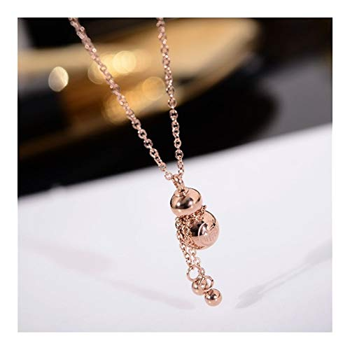 chenran Accesorios Oro Rosa de Color Suerte Calabaza Colgante, Collar 316L de Acero de Titanio Mujer Regalo de la joyería Nunca se descolora Regalo (Metal Color : Rose Gold)