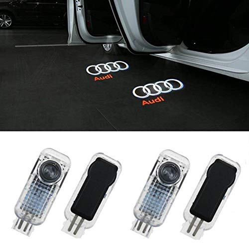 4 Pcs Car LED Door Courtesy LED Laser Projector Welcome Lights Ghost Shadow Light for Audi A4 A3 A6 Q7 A1 A5 TT A8 Q3 A7 R8 RS