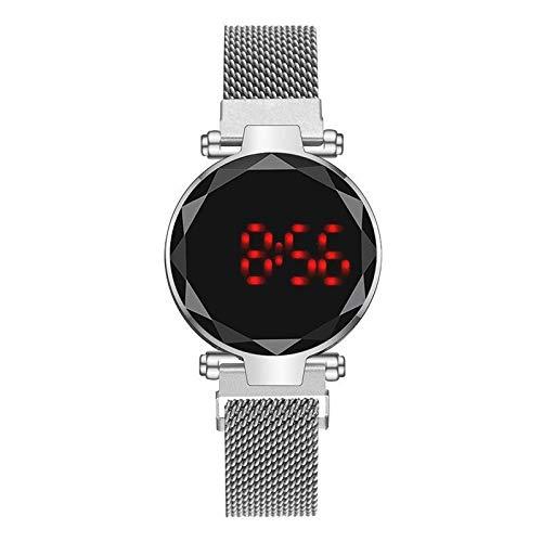 Relojes Para Mujer Redondo LED RED RELOJ RELOJ DE DIGITALES Reloj electrónico Hombres Reloj de pulsera de acero inoxidable Relojes Relojes Female Reloj Relojes Decorativos Casuales Para Niñas Damas
