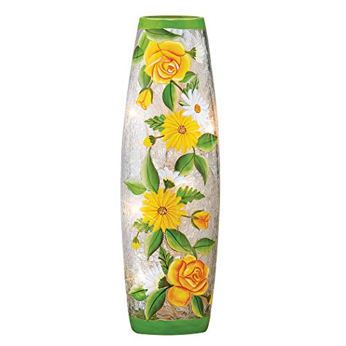 Yellow Roses & Daisies Crackled Glass Hurricane Lamp - for Mantel, Shelf, Tabletop - Lights Inside Sparkle - AC Outlet Plugin - Glass, LED Light