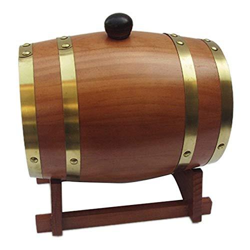 LKU 3 Liter Holz Vintage Fass Holz Wein Bier Whisky Rum Brauen Port Hotel Restaurant Dekoration, Dark Khaki