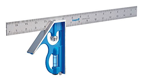 Empire Level E280 16-Inch Heavy Duty Professional Combination Square w/Etched Stainless Steel Blade and True BlueR Vial