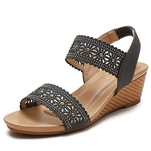 FRTG Mujeres Roman Hollow out Wedge Sandals Cómoda Sandalias Slingback Tira elástica en el Tobillo,Gris,41