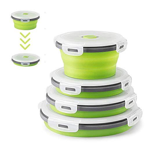 4Pcs Runden Silikon zusammenklappbaren Container Faltbare Frischhalteboxen Brotdosen aus Silikon Faltbare Silikon Brotbox Faltbare Silikon Vorratsdosen-Sets leicht zu tragen frischhaltedosen Set(Grün)
