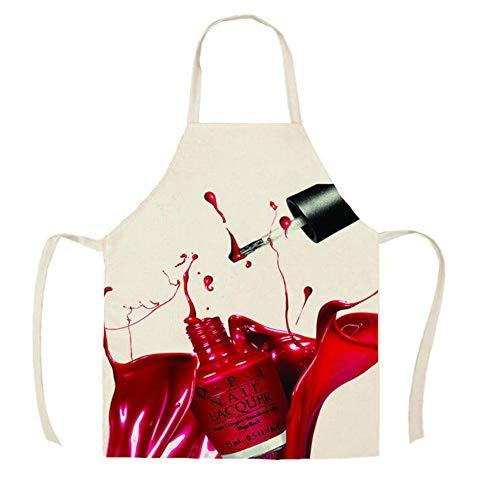 GJDBBLY Keukenschort, 1 stuks, keukenschort, kleur nagellak, bedrukt, zonder mouwen, linnen, voor mannen en vrouwen