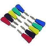 ILS – 100 unidades P3002 rojo + negro + verde + azul + amarillo 20 unidades cada color 4 mm apilable niquelado altavoz multímetros Banana Plug Conector conexión sonda