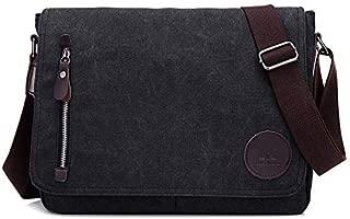 Men's Bag Canvas Bag Casual Shoulder Bag Messenger Bag JAUROUXIYUJINn (Color : Black)
