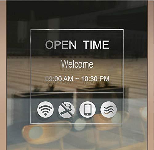 Terilizi Shop Openingstijden op maat brief glazen deur teken Stickers koffie melk thee winkel raam decoratie muur Stickers Poster wit-59 * 58Cm