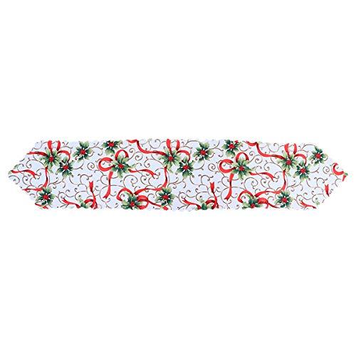 BESTonZON Camino de Mesa Navideño de Flores Decoraciones de Mesa para Navidad 180 * 36 cm ⭐