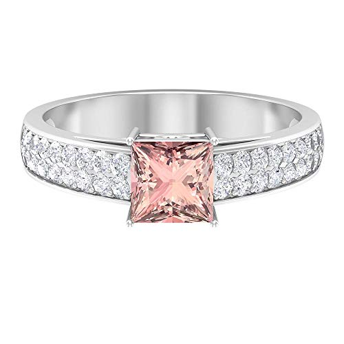 1.50 CT Princess Cut Lab Created Morganite Engagement Ring, Moissanite Accent Ring (AAAA Quality), 14K White Gold, Size:UK W