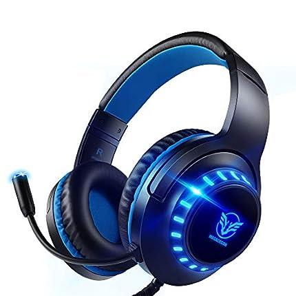 Pacrate Auriculares Gaming PS4, Auriculares con Micrófono PC, Auriculares Gamer con Cable para Xbox One Nintendo Switch con Cancelación de Ruido, Cascos con 3.5mm Jack con Sonido Envolvente & Luz LED