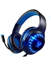 Pacrate Gaming Headset voor PS4 PC 3.5 mm Hoofdtelefoon met Microfoon Over Ear Noise Cancelling LED licht Compatibel met PS4 Xbox One PC Nintendo Switch Laptop Mac
