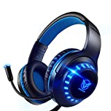 Cuffie per giochi per PS4,PS5 Cuffie per giocatori a LED con microfono con cancellazione del rumore per PC, Mac, Playstation 4, Xbox One (Ne …