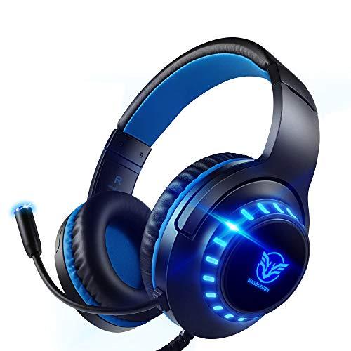 Preisvergleich Produktbild Pacrate PC Gaming Headset für PS4,  PS5,  Xbox One,  PC,  Rauschunterdrückung, Over-Ear,  PS4 Headset mit LED Lichter,  PS4 Gamer Kopfhörer mit Sensiblen Mikrofon & Intensiven Bässen für Laptop Mac