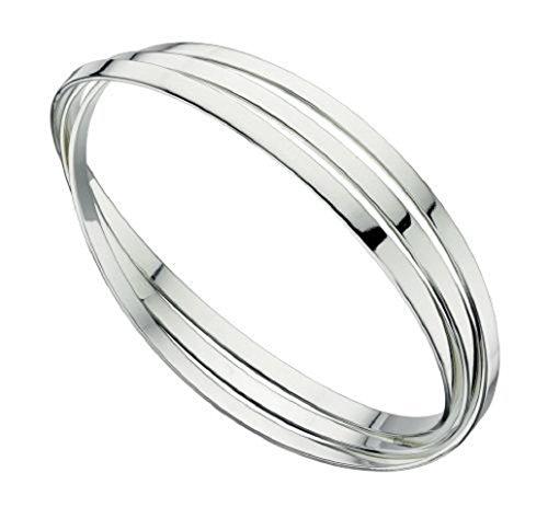 Elements Silver Damen-Armreif aus 925er-Sterlingsilber, dreifach russischer Ehering, flache Bänder