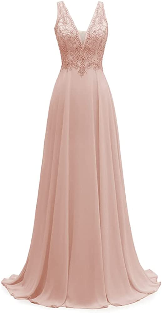 Lace V Neck Bridesmaid Dresses Long A Line Chiffon Formal Dress Evening Gowns for Women