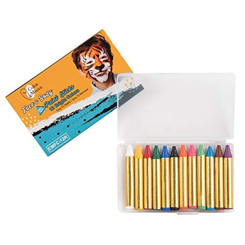 ColorMaster Face Paint Crayons for Kids– 12 Bright Colors, Body Painting Set Including 12 Colors Crayon, Non-Toxic and Paint for Halloween Makeup, Costumes, Festivals, Birthday Party