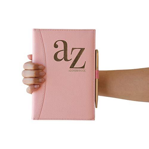 Rosa A bis Z Telefonbuch A-Z Index Hardcover mit Stift A5 Adressbuch Home Office Arbeit Pink