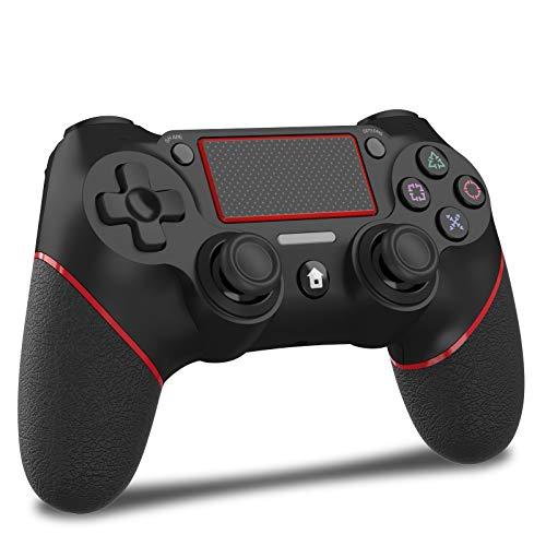 「2021最新」JOYSKY PS4 コントローラー ワイヤレス 最新バージョン 600mAh Bluetooth リンク遅延なし ジャイロセンサー機能 イヤホンジャック ゲームパット 搭載 高耐久ボタン 二重振動 日本語取扱説明書(赤黒い)