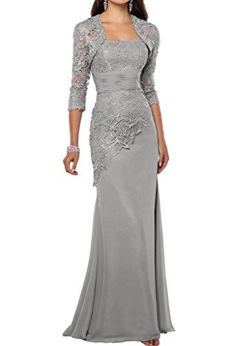 Victory Bridal 2018 Neu Spitze Chiffon Abendkleider Ballkleider Meerjungfrau Brautmutter Kleid Mit Bolero-42 Silber