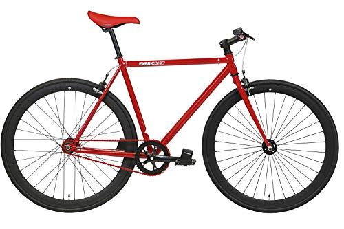 FabricBike- Bicicleta Fixie, piñon Fijo, Single Speed, Cuadro Hi-Ten Acero, 10,45 kg. (Talla M) (M-54cm, Red & Black)