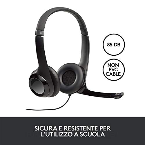 Logitech Kit Cuffie Cablate, Cuffie Stereo con Microfono, Jack Audio 3.5 mm, Limite Volume 85 dB, 5 Cuffie per Set, PC/Mac/Laptop/Tablet , Nero