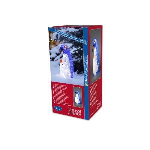Konstsmide 6169-203 Maman Pingouin et Enfant Acrylique 40 LED Blanc + Câble Transparent 24 V