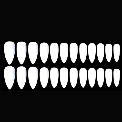 NJIANGHUA Nep Nagels Over 24 Stks Lange Goede Kwaliteit Acryl Valse Nagel Extensions Wijn Rood Zwart Mat Eenvoudig Breng Scherpe Stiletto Kunstmatige Nep Nagel W