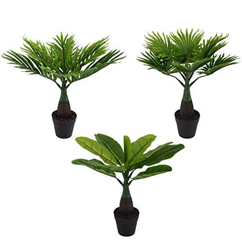INtrenDU 3X künstliche Dekopflanze im Set Palme Kunstpflanzen im Topf Kunstblumen Fensterdeko künstliche Pflanze