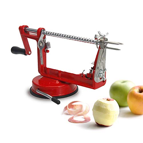AUHOLNVN Apple Peeler Slicer Corer with Stainless Steel Blades Durable Heavy Duty Die Cast Magnesium Alloy Apple Peeler Slicer Corer with Suction Base Powerful Suction Base for Apples and Potato