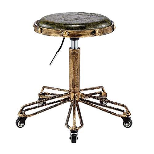 LLDKA Taburete de Taller de Ruleta de Ruedas, Taburete de Taller de Ruleta con sillas de Asiento de Cuero de PU marrón,Verde