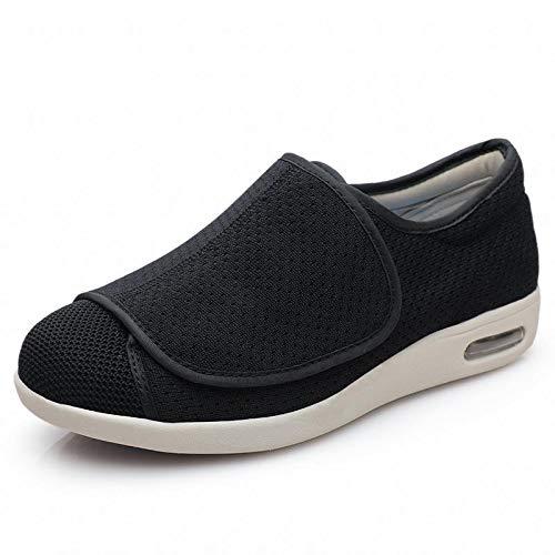 qmj Zapatos para Diabéticos Hombres Zapatillas Ortopédicas para Diabéticos Anchura Amplia Cierre De Velcro Ajustable,Black-EU44/270mm