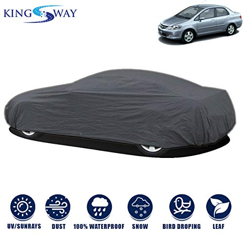 Kingsway Dust Proof Car Body Cover for Honda City (Model Year : 2003-2008) (Grey Matty, Triple Stitched)