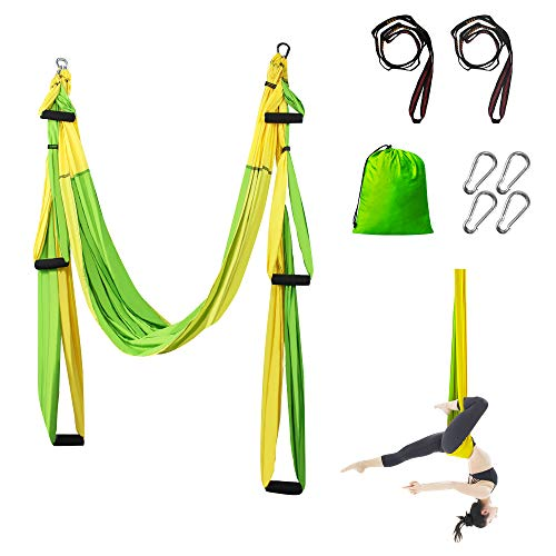 Sotech Yoga Swing, Yoga Hammock/Trapeze/Sling Kit, with 2 Extension Straps and 4 Carabiners - Inversion Swing for Beginners and Kids