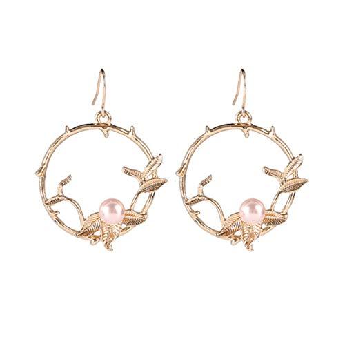 Frosty Wind Flower Circle Leaf Pendientes de perlas S925 Pendientes de plata con temperamento de aguja de todo fósforo Mujer