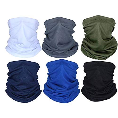 Lulupi 6 Stück Multifunktionstuch,Damen und Herren Schlauchtuch Atmungsaktiv Schnelltrocknend Halstuch Bandana Schal Outdoor Staubschutz Motorradmaske Face Shield Mund-Tuch
